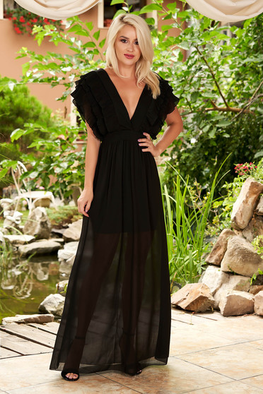 Black straight maxi dress from veil fabric with deep cleavage