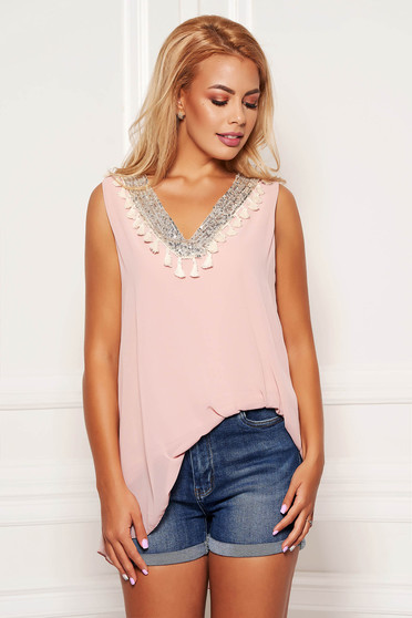 Lightpink top shirt casual flared from veil fabric with sequin embellished details with tassels sleeveless