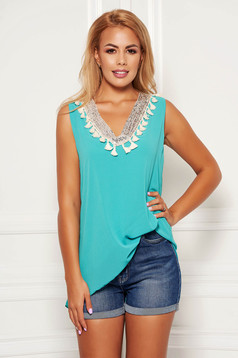 Turquoise top shirt casual flared from veil fabric with sequin embellished details with tassels sleeveless