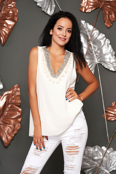 White top shirt casual flared from veil fabric with sequin embellished details with tassels sleeveless