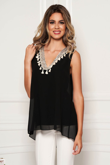 Black top shirt casual flared from veil fabric with sequin embellished details with tassels sleeveless