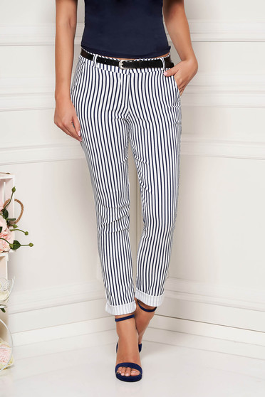 White trousers casual long conical with stripes with front pockets accessorized with belt