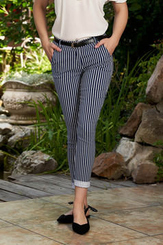 Darkblue trousers casual long conical with stripes with front pockets accessorized with belt