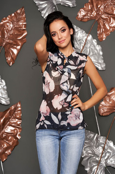 Black top shirt casual from veil fabric flared with ruffles on the chest with floral print