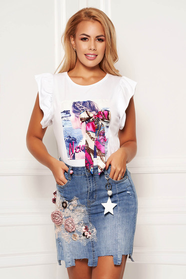 White t-shirt cotton casual flared with ruffled sleeves with graphic details