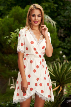 Cream daily cloche short cut dress from satin with v-neckline dots print