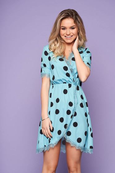 Lightblue daily cloche short cut dress from satin with v-neckline and dots print