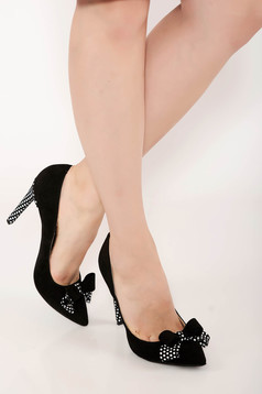 Black shoes elegant natural leather dots print with bow accessories