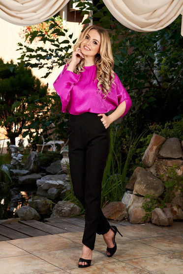 Fuchsia jumpsuit elegant occasional long with pockets large sleeves with cut back