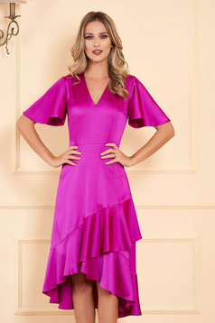 Fuchsia dress daily midi asymmetrical from satin with v-neckline with butterfly sleeves with ruffles at the buttom of the dress