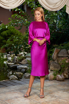 Fuchsia dress elegant daily midi from satin with cut back large sleeves cloche