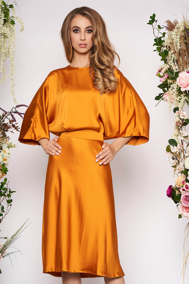 Mustard dress elegant daily midi from satin with cut back large sleeves cloche