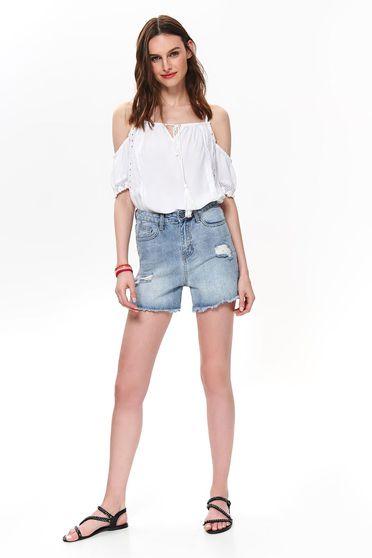 Blue short casual medium waist with pockets