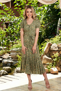 StarShinerS khaki dress midi daily cloche with floral print short sleeves accessorized with tied waistband