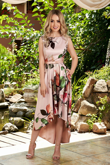 Lightpink dress occasional midi asymmetrical with floral print with rounded cleavage sleeveless