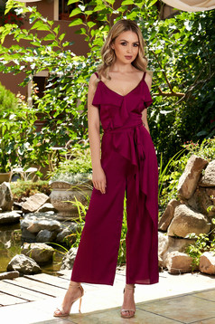 Fuchsia jumpsuit elegant occasional from satin flared accessorized with tied waistband with ruffle details