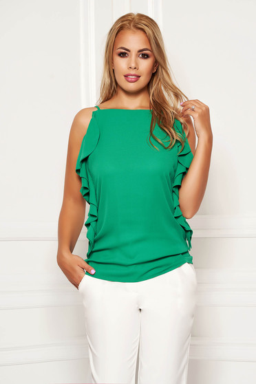 Green women`s blouse elegant flared with ruffle details with straps