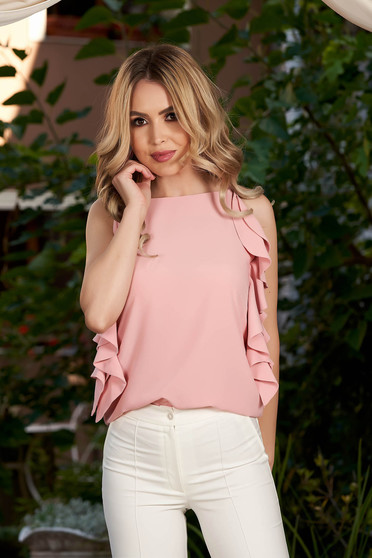 Lightpink women`s blouse elegant flared with ruffle details with straps