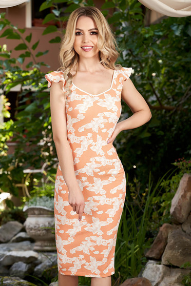 StarShinerS orange dress daily midi pencil with graphic details with v-neckline frilly straps