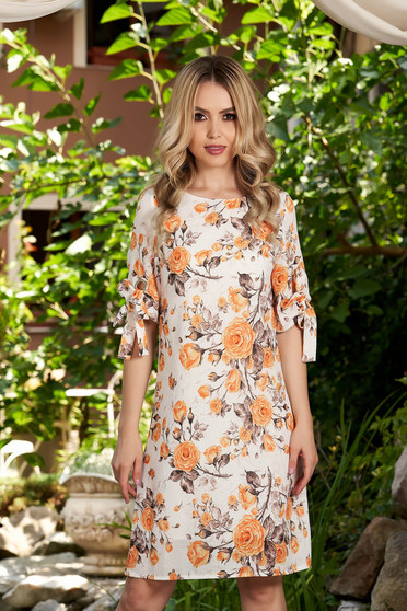 Mustard dress short cut daily a-line with floral print with rounded cleavage elastic held sleeves