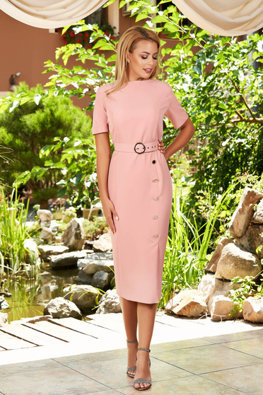 Lightpink dress daily elegant midi pencil cloth with button accessories with rounded cleavage short sleeves