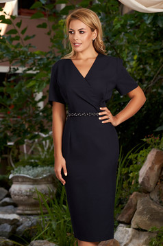 Darkblue dress elegant daily midi pencil wrap over front short sleeves
