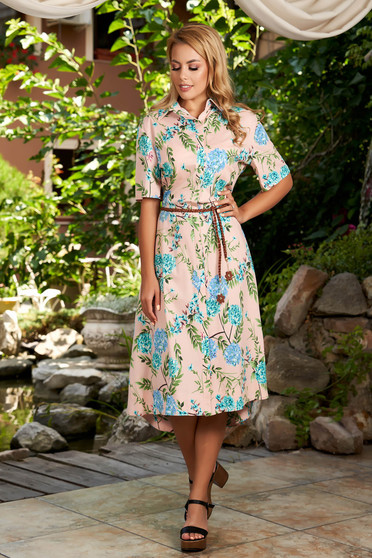 Lightpink dress daily midi cloche with pockets short sleeves with floral print
