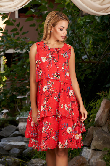 Red dress daily short cut a-line from veil fabric sleeveless with inside lining with floral print