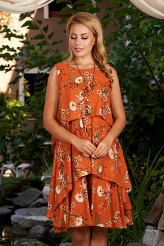 Bricky dress daily short cut a-line from veil fabric sleeveless with inside lining with floral print