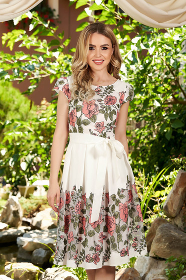 Ivory dress daily midi cloche waist pleats detachable cord with floral print