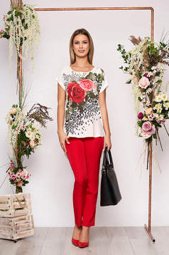 Red lady set elegant 2 pieces with trousers cotton with floral print