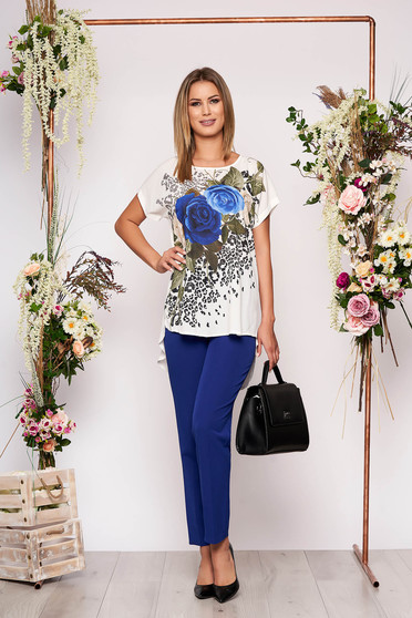 Blue lady set elegant 2 pieces with trousers cotton with floral print