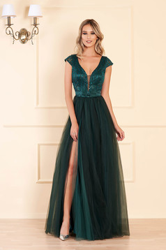 Darkgreen dress occasional long cloche from tulle with sequins with push-up cups sleeveless
