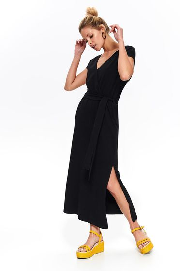 Black dress casual long cotton with v-neckline cut material