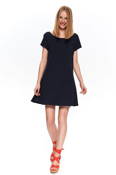 Darkblue dress casual short cut cotton v back neckline short sleeves