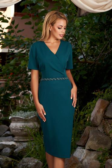 Darkgreen dress elegant daily midi pencil wrap over front short sleeves