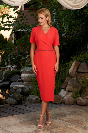 Coral dress elegant daily midi pencil wrap over front short sleeves
