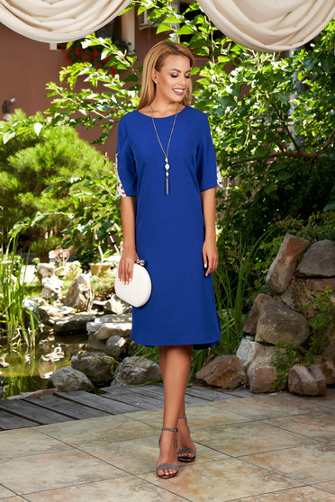 Blue dress daily elegant midi straight with rounded cleavage short sleeves with an accessory