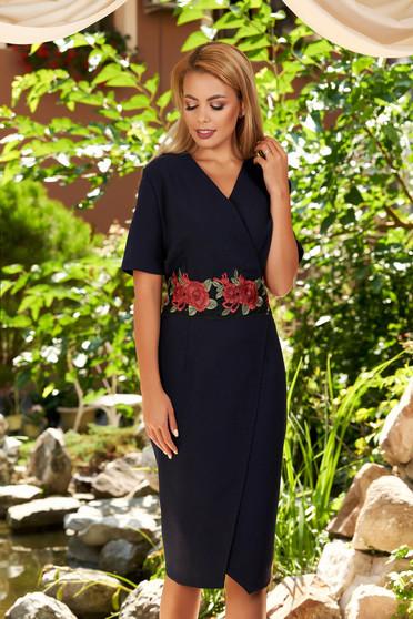 Darkblue dress elegant midi asymmetrical wrap over front short sleeves cloth