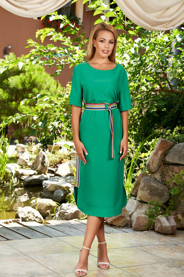 Green dress daily midi straight with stripes with rounded cleavage short sleeves