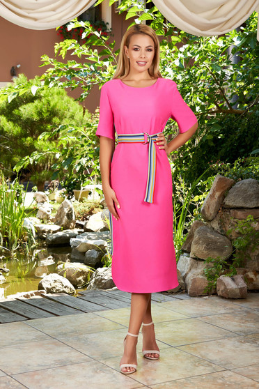 Pink dress daily midi straight with stripes with rounded cleavage short sleeves