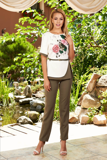 Khaki elegant 2 pieces lady set with trousers accessorized with belt with floral print