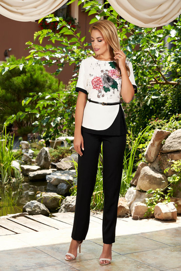 Black elegant 2 pieces lady set with trousers accessorized with belt with floral print