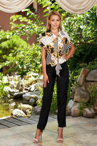 Black lady set elegant 2 pieces with trousers with stripes with graphic details airy fabric