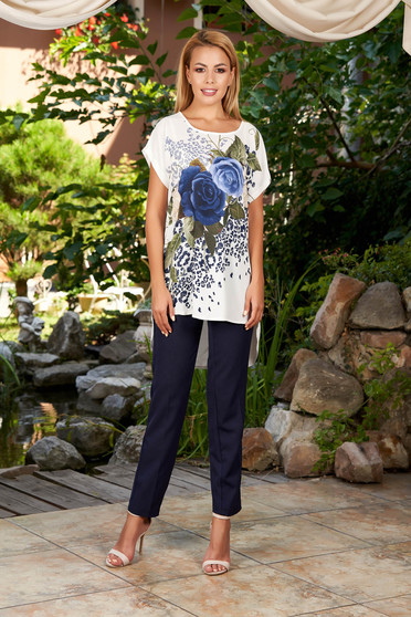 Darkblue lady set elegant 2 pieces with trousers cotton with floral print