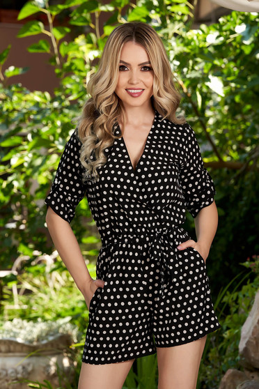 Black jumpsuit casual short cut flared dots print with pockets 3/4 sleeve