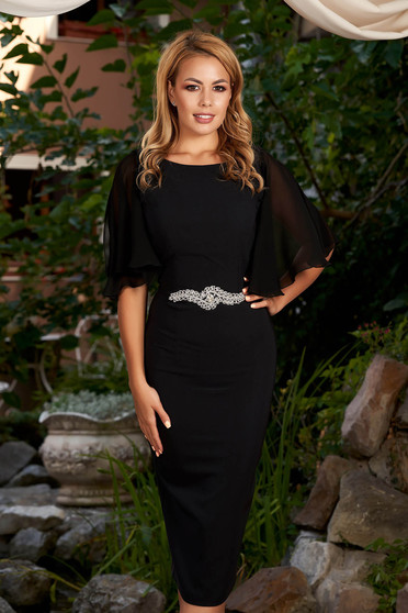 Black dress elegant midi pencil strass with veil sleeves with rounded cleavage