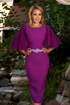 Purple dress elegant midi pencil strass with veil sleeves with rounded cleavage