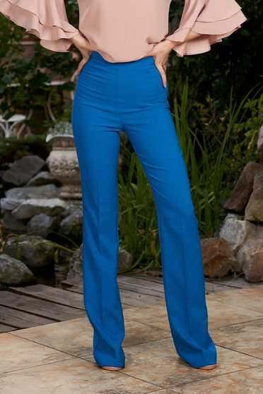 Blue trousers elegant long medium waist with easy cut