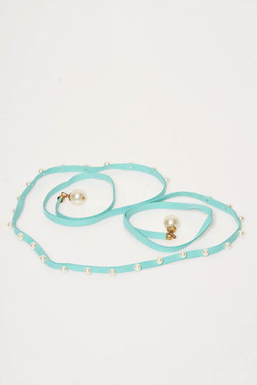 StarShinerS turquoise belt from ecological leather with pearls